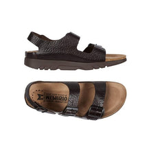 Load image into Gallery viewer, Top and side view of the Zeus brown sandal by Mephisto has 2 buckle straps across toes and one buckle strap around heel with a tan footbed