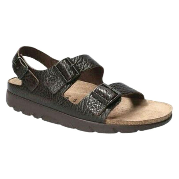Dark brown textured leather Zeus sandal by Mephisto has 2 straps across tow with buckles and 1 around heel with a buckle