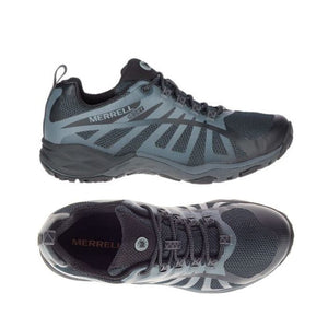 Top and side view of the black Siren Edge Q2 WP running style shoe by Merrell has black mesh and metallic dark blue details on black