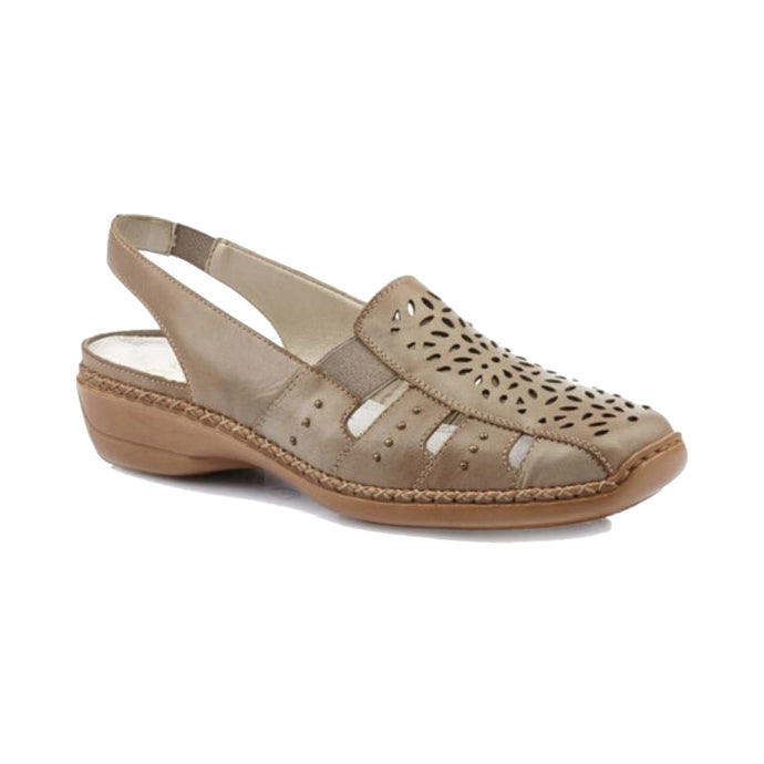 Slip on beige sandal with heel strap and perforated designs with cut outs around toe and detail stitching