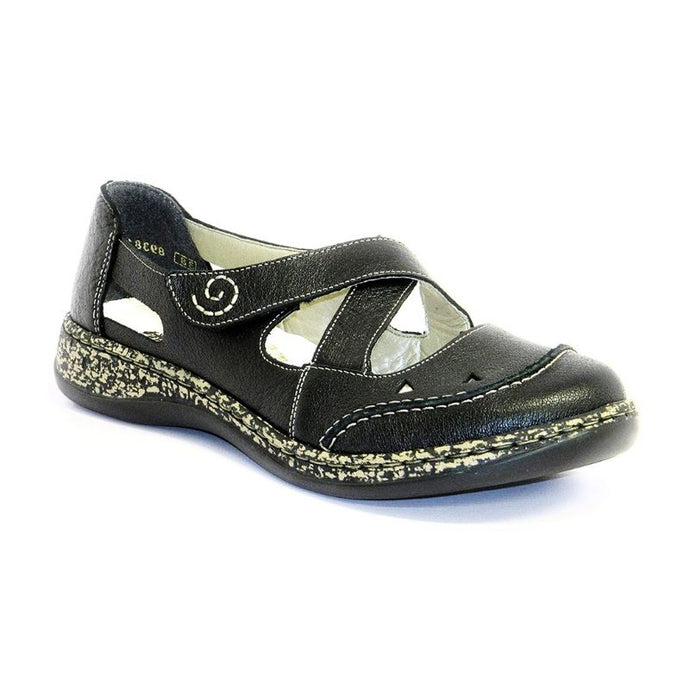 Black sandal with marble line and spiral detail on velcro strap and crossing straps