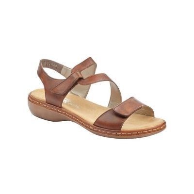 Brown sandal with Velcro toe strap and Velcro loop ankle strap with slight block heel and tan footbed