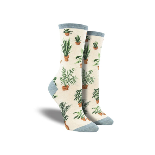White socks with grey accents featuring potted houseplants