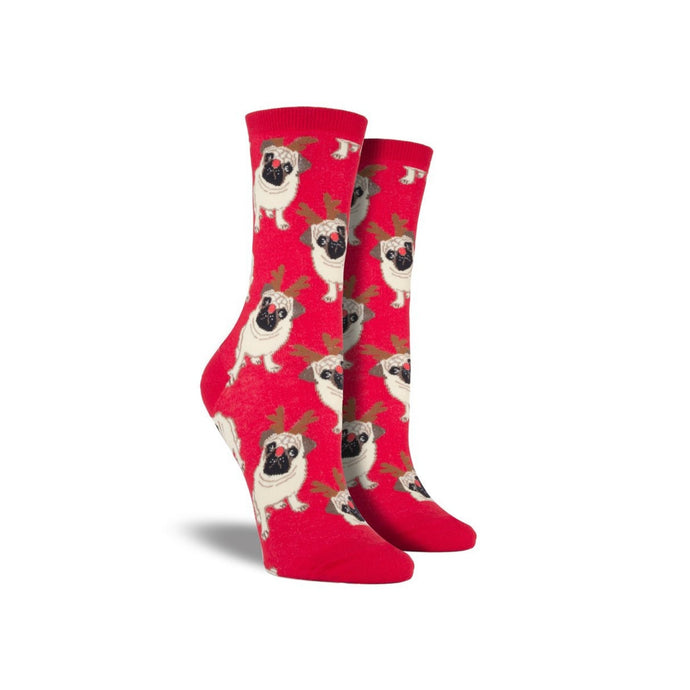 Red socks with pugs wearing reindeer antler and nose