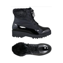 Load image into Gallery viewer, Top and side view showing Black winter boots with laces, shiney bottom accent and fur trim.