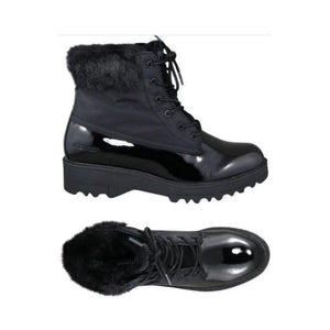 Top and side view showing Black winter boots with laces, shiney bottom accent and fur trim.