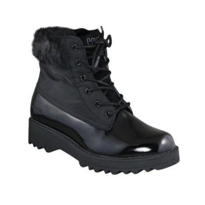 Black winter boots with laces and fur trim and rugged outsole