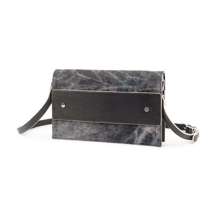 Black denim front of Clutch Bold collection by JTB has straps and a black leather pass through