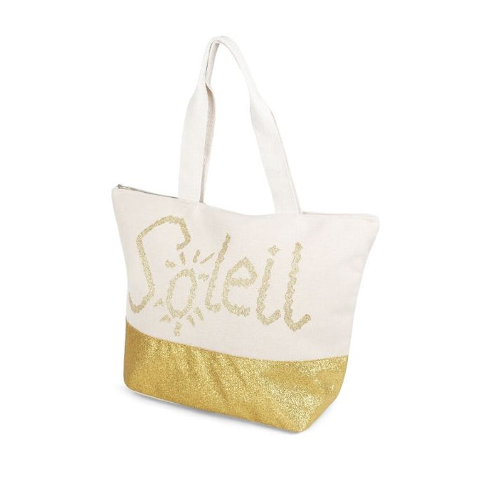 The Aloha Soleil tote by Joanel has thick white straps, off-white colour with a gold shimmery bottom section and