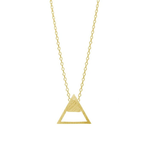 The Luna necklace by Prysm has gold chain and a gold triangle pendant with top corner filled in