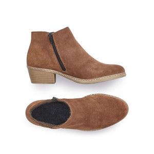 Top and side view of the brown suede ankle boot with slight heel and detail line stitches and a side zipper on the 55551-20 by Rieker