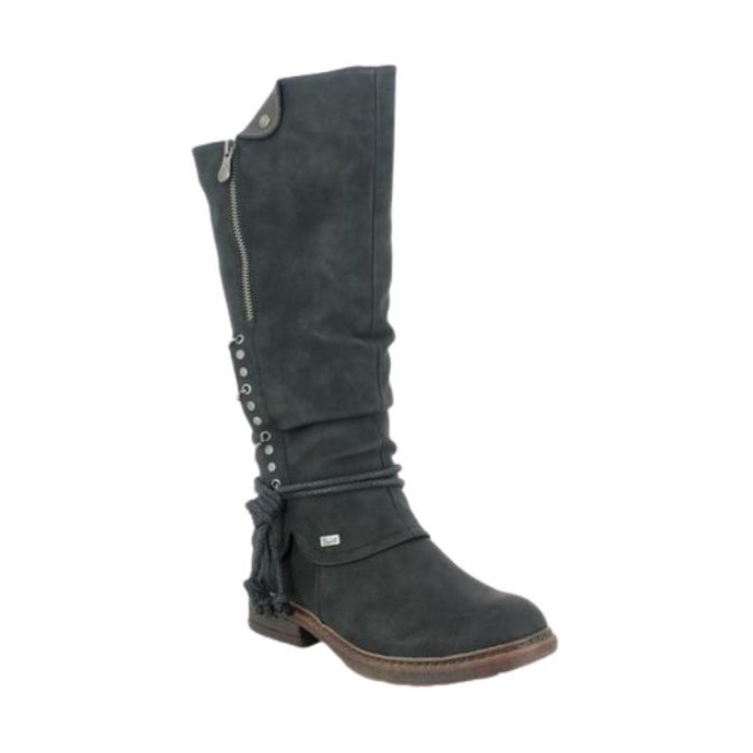 Knee high boot with rope around ankle, side zipper and metal