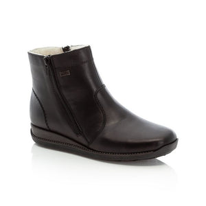 Simple black ankle boot with side zipper and detailed stitching