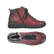 Load image into Gallery viewer, Side view of side zipper and wine red ankle boot with bronze back detailing and black outsole and top view of black laces and grey trim