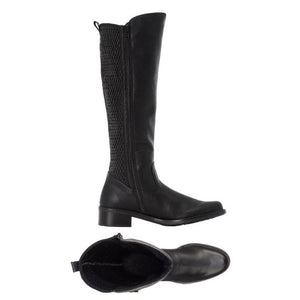 Top view of tall boot fur lining and side view of Black leather boot with flexible back and side zipper, knee high by Rieker
