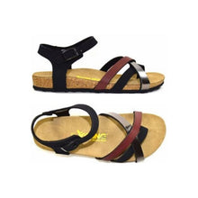Load image into Gallery viewer, Top and side view of Strappy sandal with red, silver and black straps across toe and ankle with tan cork footbed