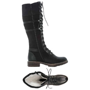 Top and side view with lining on Tall black combat style boot with laces all the way up and accent straps along side