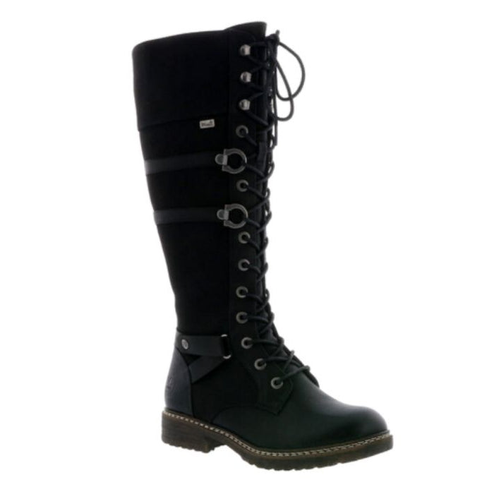 Tall black combat style boot with laces all the way up and accent straps along sides