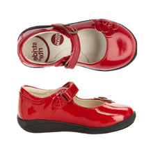 Load image into Gallery viewer, Top and side view Red slip on shoes with3D flower on toe and buckle strap over heel