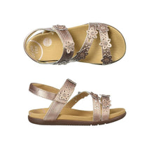 Load image into Gallery viewer, Top and side view Heel strap and 3 over foot straps on sandal with perforations and 3D flower cutouts (youth), showing Tan footbed