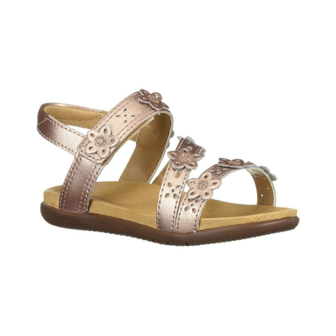 Heel strap and 3 over foot straps on sandal with perforations and 3D flower cutouts (youth)