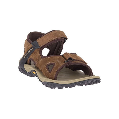 Kahuna sandal in brown by Merrell has a hiker sandal look with 2 durable cross straps and a thick outsole