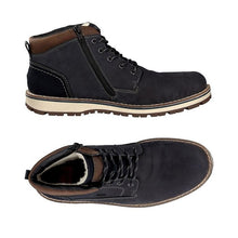 Load image into Gallery viewer, Top view and side view with zipper dark blue suede ankle boot for men with brown trim and strip laces
