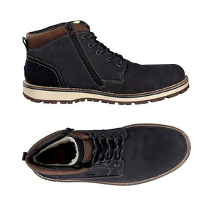 Top view and side view with zipper dark blue suede ankle boot for men with brown trim and strip laces