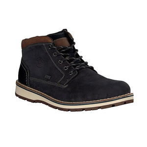 Dark blue suede ankle boot for men with brown trim and strip laces