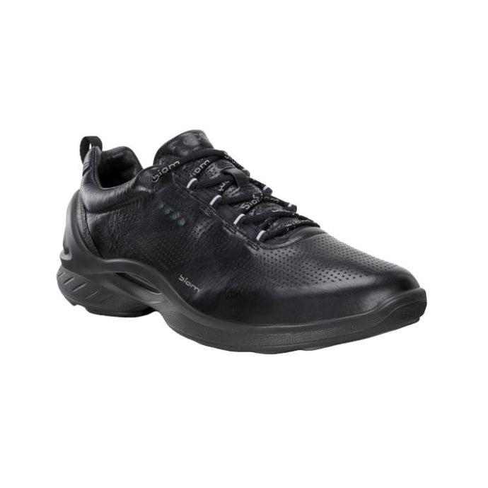 Black sneaker leather upper with black laces and black outsole called Biom Fjuel by Ecco