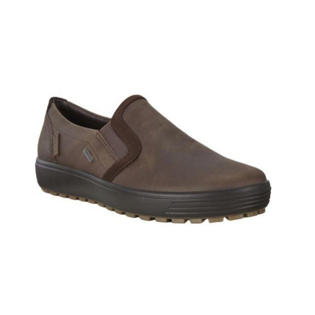 Slip-on sneaker in coffee with black outsole and brown suede trim for contrast on the Soft 7 Slip-on sneaker by Ecco