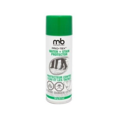 White spray can with green lid for water & stain protector spray