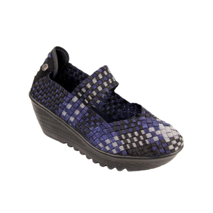 Thick black wedge with elastic upper with closed toe and ankle band in blue/black/silver checkered design