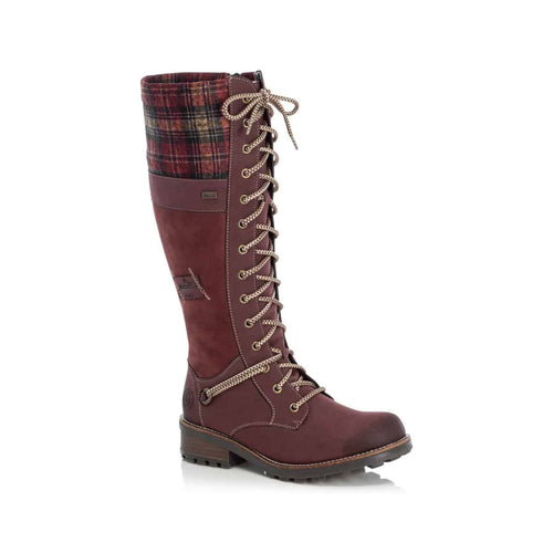 Tall boot with sections in red plaid, red suede and red leather with contrasting white lace ups