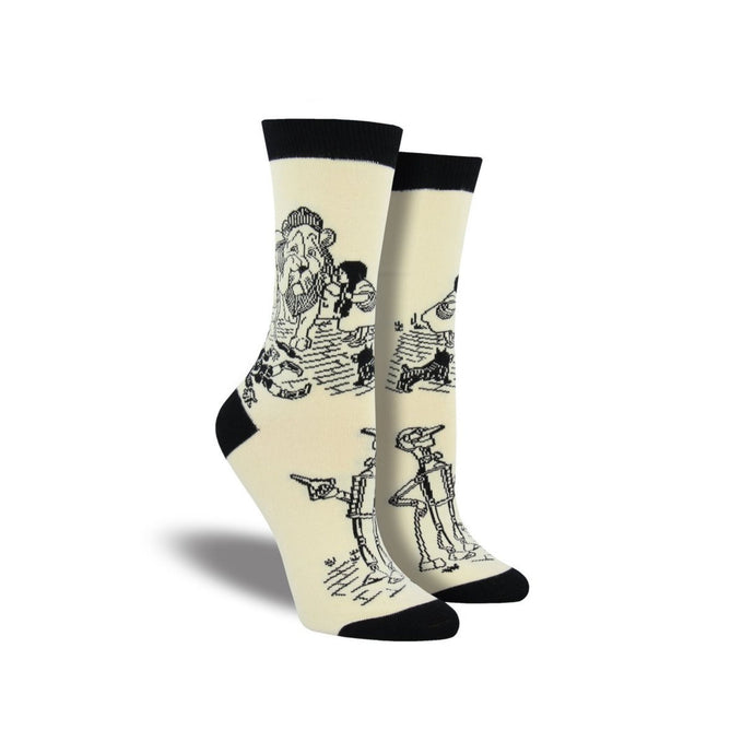 White socks with the wizard of oz characters in outline only