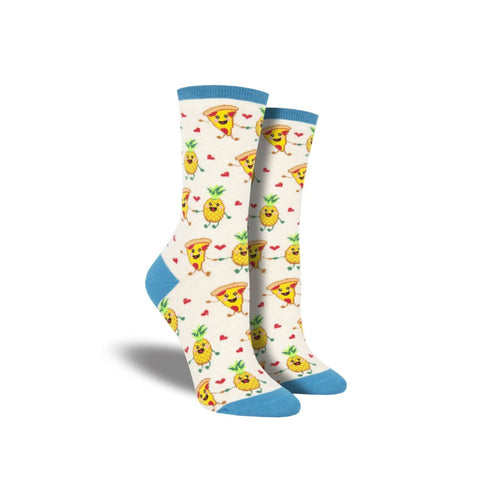 White Socks with Pizza and pineapples holding hands