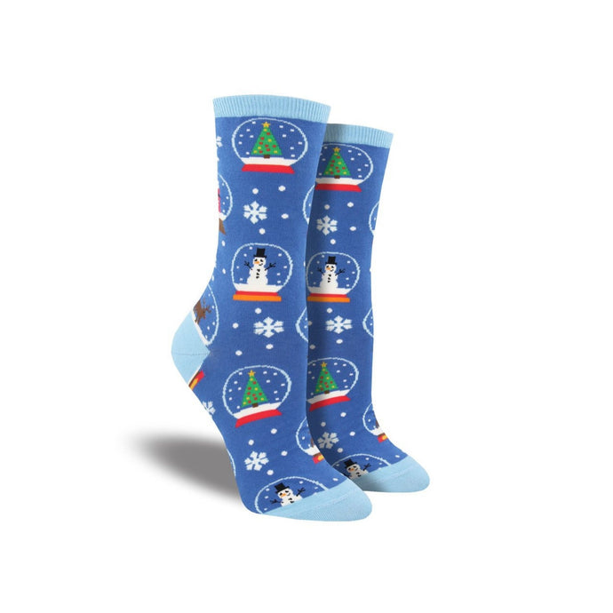 Blue snowy socks with snowman and tree snowglobes on them