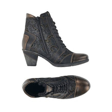 Load image into Gallery viewer, Top and side view of Black and gold patterned western style ankle boot with side zipper and laces