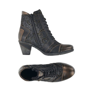 Top and side view of Black and gold patterned western style ankle boot with side zipper and laces