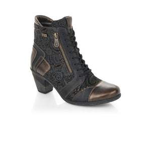Black and gold patterned western style ankle boot with side zipper and laces