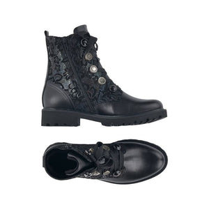 Top and side view of Black combat style boots with laces, decorative eyelet buttons and a shimmery floral print