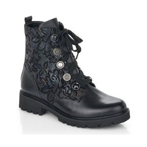 Black combat style boots with laces, decorative eyelet buttons and a shimmery floral print