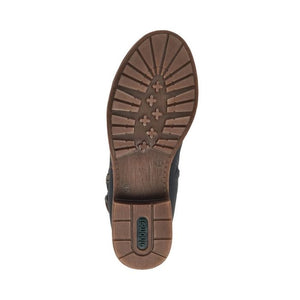 Brown outsole on tall grey boot