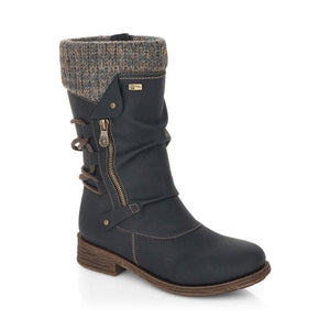 Knit peek-a-boo lining on dark grey boot with side zipper and decorative lacing up back
