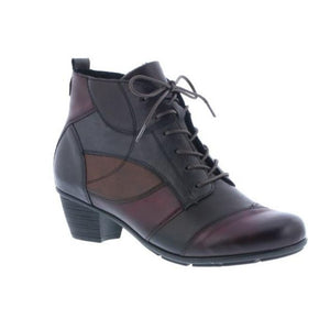 "Multi colour ankle boot, wine black and dark burgundy ""patch"" design with heel and laces"