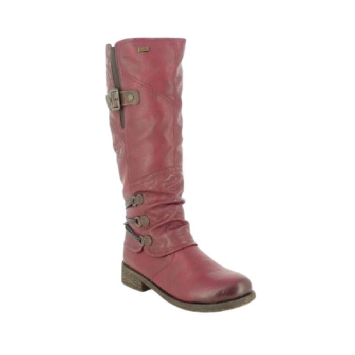 Tall wine boot with detail ankle buckles and top gore with buckle