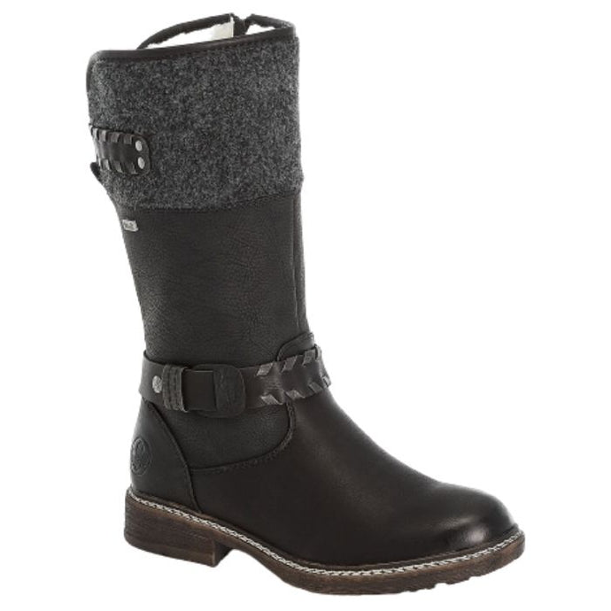 Knee high boot black boot with knit lining at top with ankle details