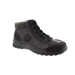 Black lace up ankle boot by Rieker with knit trim and black circle accent on side with dots.