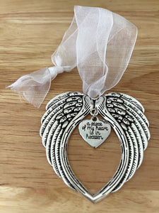 Silver Angel Wing heart ornament