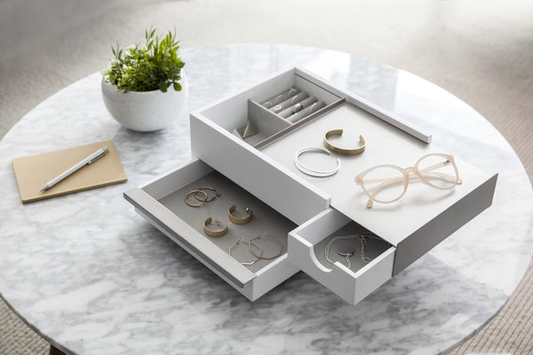 UMBRA | STOWIT JEWELRY BOX WHT/NKL